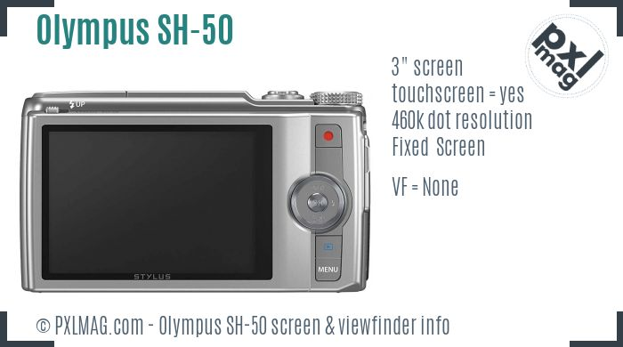 Olympus SH-50 screen and viewfinder