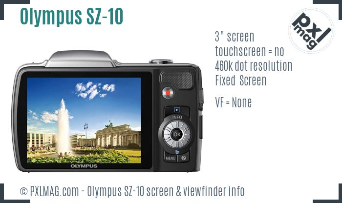 Olympus SZ-10 screen and viewfinder