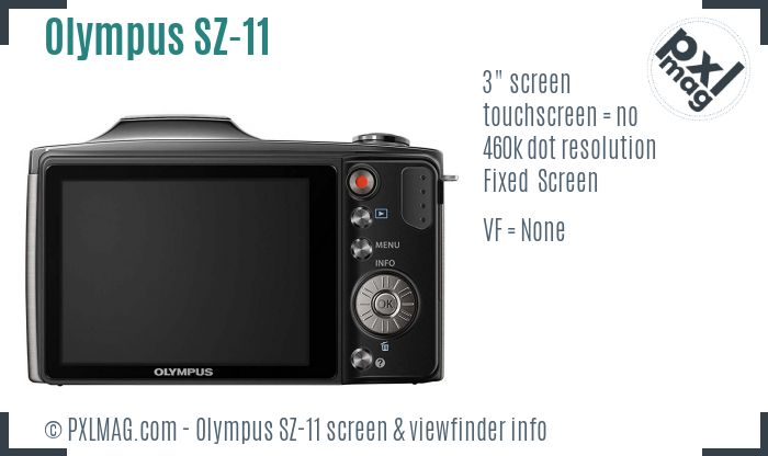 Olympus SZ-11 screen and viewfinder
