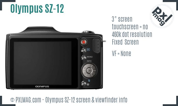 Olympus SZ-12 screen and viewfinder