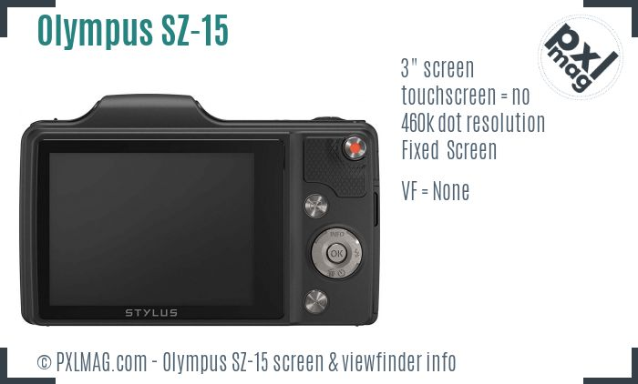 Olympus SZ-15 screen and viewfinder