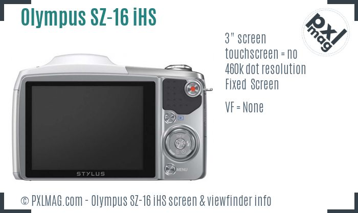 Olympus SZ-16 iHS screen and viewfinder