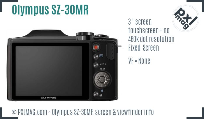 Olympus SZ-30MR screen and viewfinder