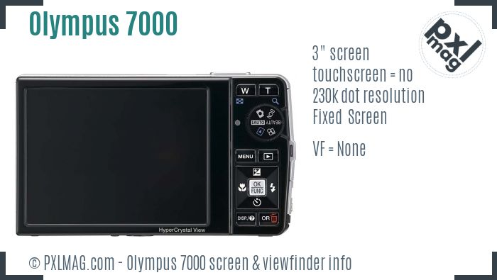 Olympus Stylus 7000 screen and viewfinder