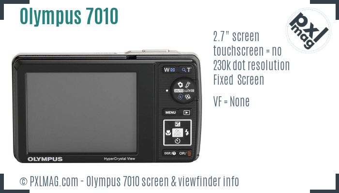 Olympus Stylus 7010 screen and viewfinder