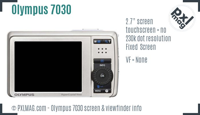 Olympus Stylus 7030 screen and viewfinder