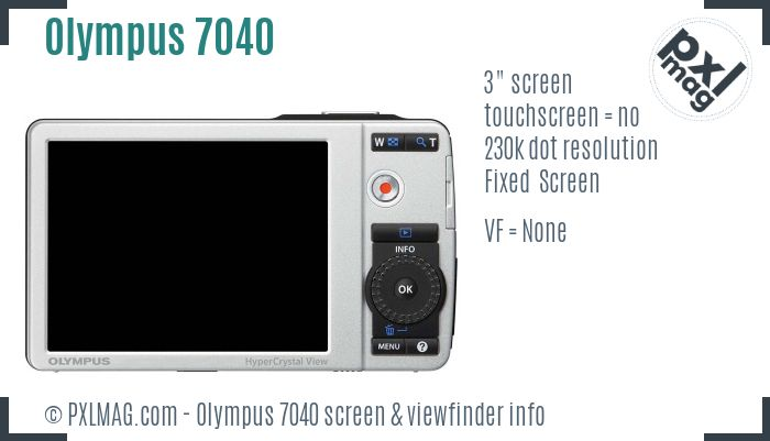 Olympus Stylus 7040 screen and viewfinder