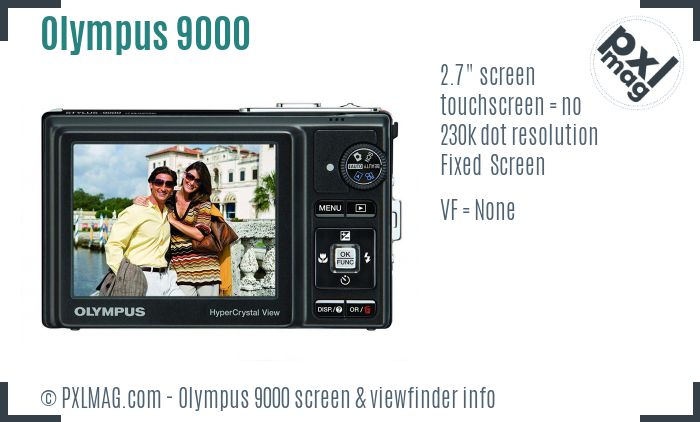 Olympus Stylus 9000 screen and viewfinder