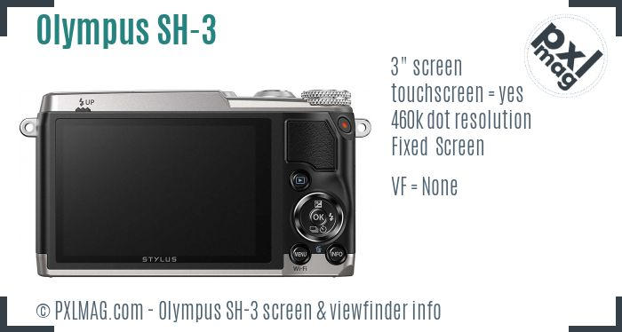Olympus Stylus SH-3 screen and viewfinder