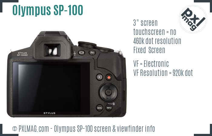 Olympus Stylus SP-100 screen and viewfinder