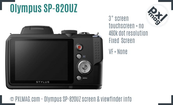 Olympus Stylus SP-820UZ screen and viewfinder