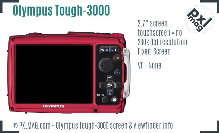 Olympus Stylus Tough-3000 screen and viewfinder
