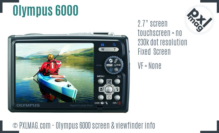 Olympus Stylus Tough 6000 screen and viewfinder