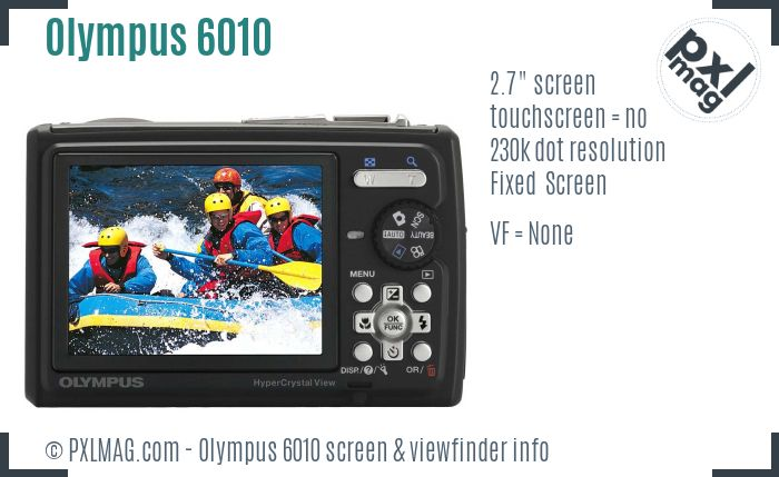 Olympus Stylus Tough 6010 screen and viewfinder