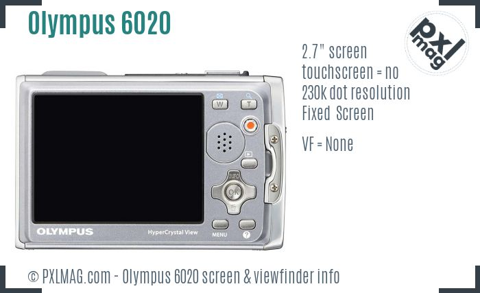 Olympus Stylus Tough 6020 screen and viewfinder