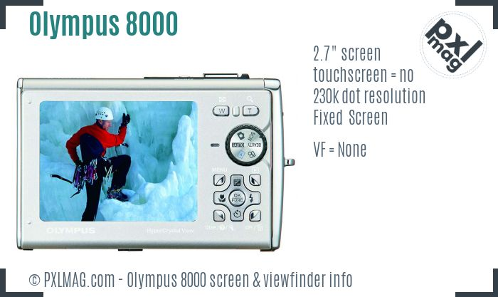 Olympus Stylus Tough 8000 screen and viewfinder