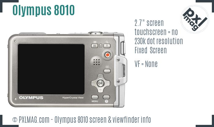 Olympus Stylus Tough 8010 screen and viewfinder
