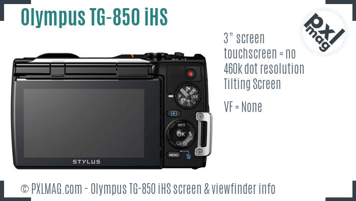 Olympus Stylus Tough TG-850 iHS screen and viewfinder