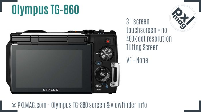 Olympus Stylus Tough TG-860 screen and viewfinder