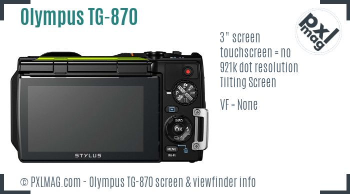 Olympus Stylus Tough TG-870 screen and viewfinder