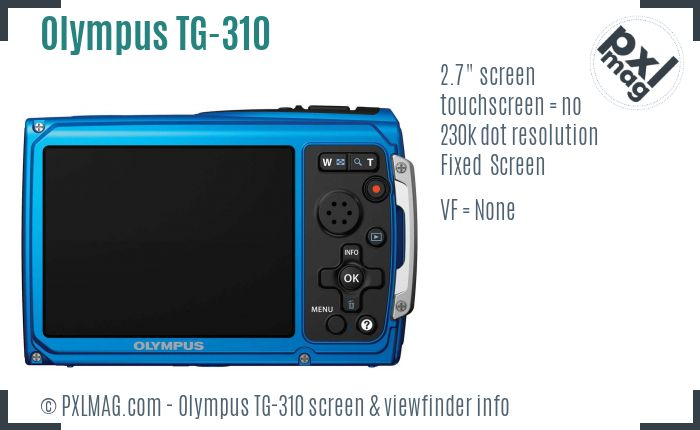 Olympus TG-310 screen and viewfinder