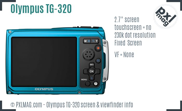 Olympus TG-320 screen and viewfinder