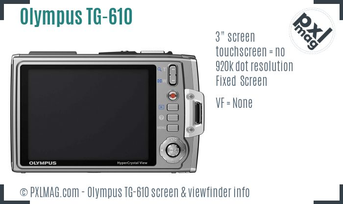 Olympus TG-610 screen and viewfinder