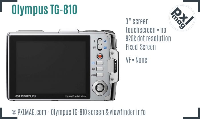 Olympus TG-810 screen and viewfinder