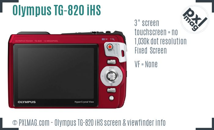 Olympus TG-820 iHS screen and viewfinder