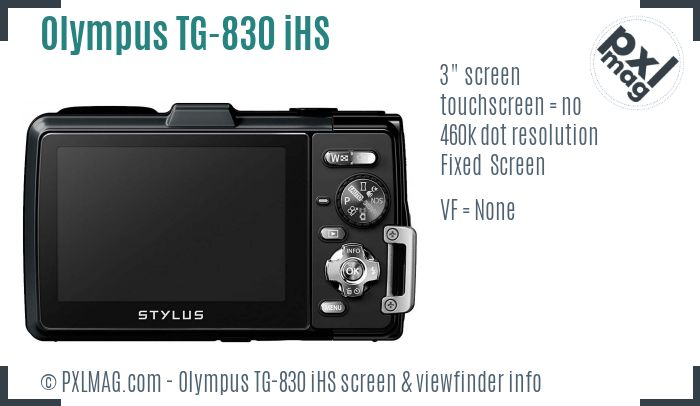Olympus TG-830 iHS screen and viewfinder