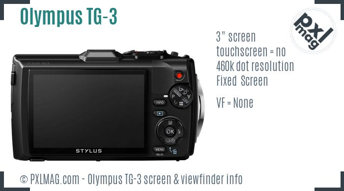Olympus Tough TG-3 screen and viewfinder