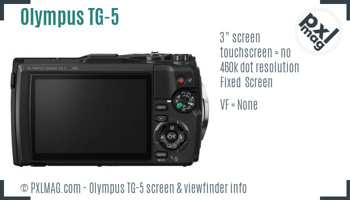 Olympus Tough TG-5 screen and viewfinder