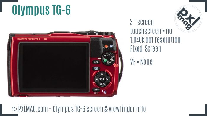 Olympus Tough TG-6 screen and viewfinder