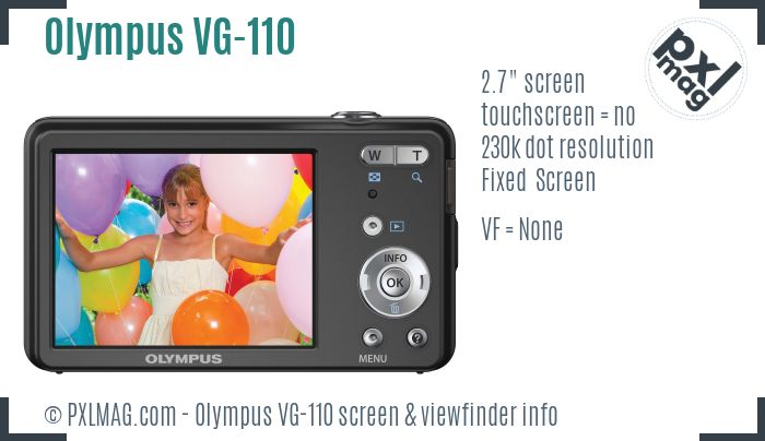 Olympus VG-110 screen and viewfinder