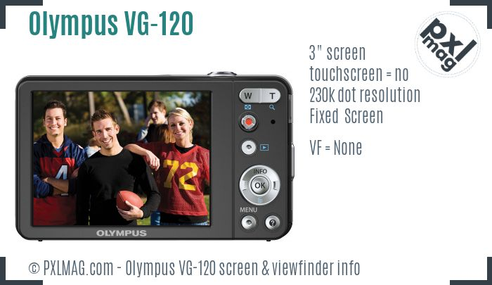 Olympus VG-120 screen and viewfinder