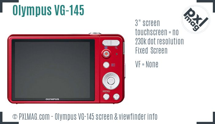 Olympus VG-145 screen and viewfinder