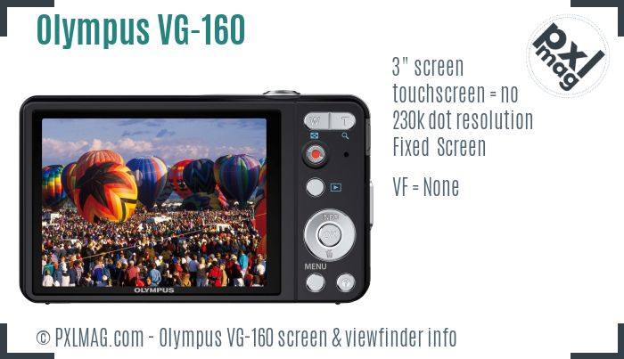 Olympus VG-160 screen and viewfinder