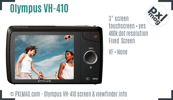 Olympus VH-410 screen and viewfinder