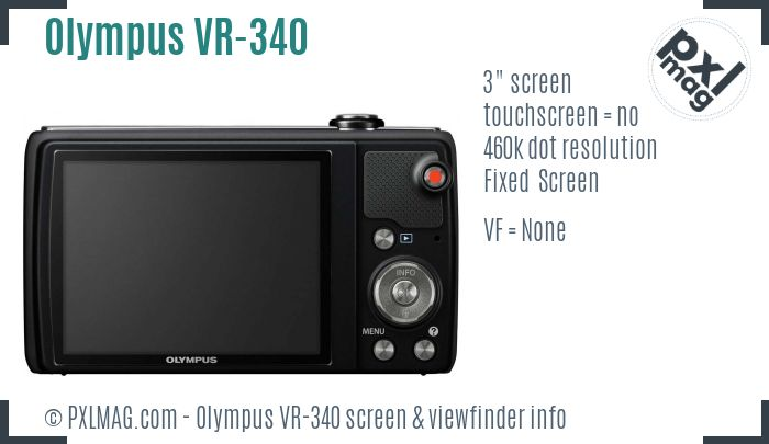 Olympus VR-340 screen and viewfinder