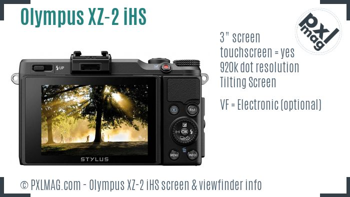 Olympus XZ-2 iHS screen and viewfinder