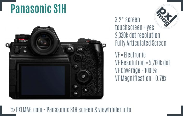 Panasonic Lumix DC-S1H screen and viewfinder