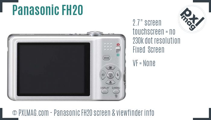 Panasonic Lumix DMC-FH20 screen and viewfinder
