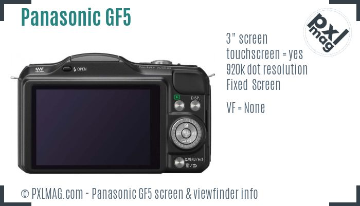 Panasonic Lumix DMC-GF5 screen and viewfinder