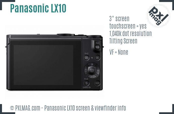 Panasonic Lumix DMC-LX10 screen and viewfinder