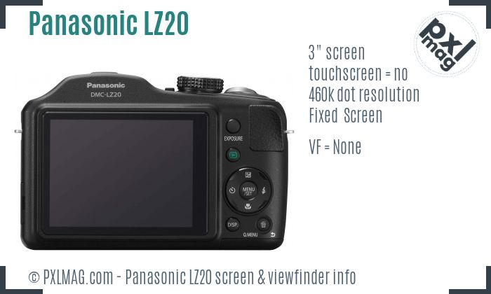 Panasonic Lumix DMC-LZ20 screen and viewfinder