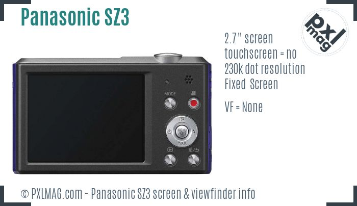 Panasonic Lumix DMC-SZ3 screen and viewfinder