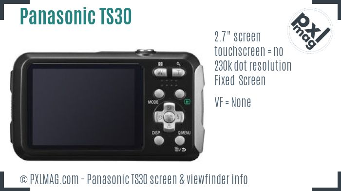 Panasonic Lumix DMC-TS30 screen and viewfinder