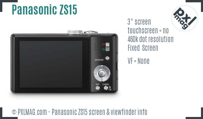Panasonic Lumix DMC-ZS15 screen and viewfinder