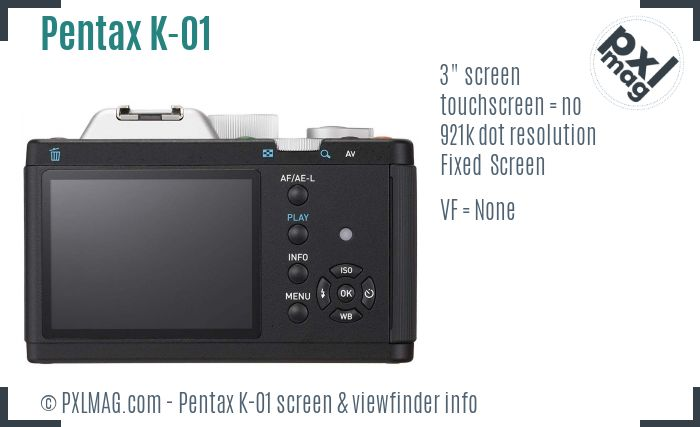Pentax K-01 screen and viewfinder