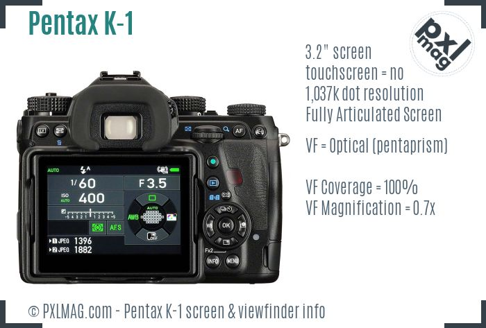 Pentax K-1 screen and viewfinder